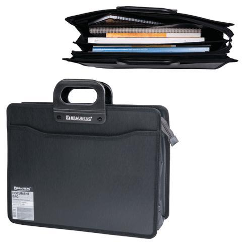 ee1e6562ac0b Brauberg Портфель пластиковый 4 отделения, черный под дерево, 390х320х120  мм 221391