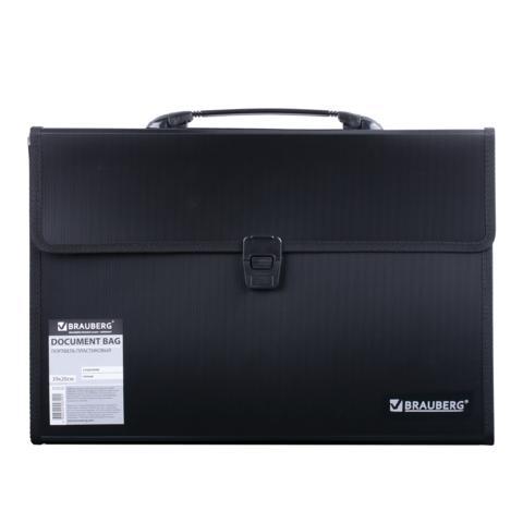 86f132901295 Brauberg Портфель пластиковый 3 отделения, с окантовкой, черный, 390х260х40  мм 221389