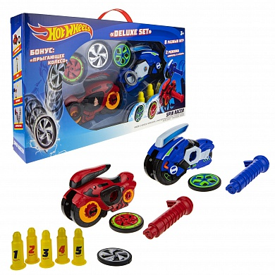 1Toy Hot Wheels Spin Racer Deluxe Set (2 пусковых механизма + 3 диска) Т19375 с 3 лет